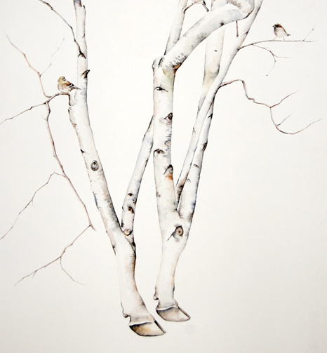 Cow Birch with Birds (detail) by Amy Ross
