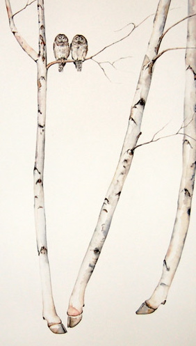 Cow Birch with Barred Owls (detail) by Amy Ross